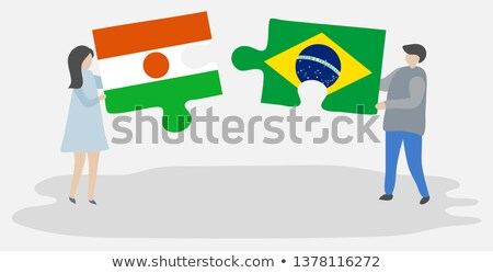 Бразилия Нигер флагами головоломки изолированный белый Сток-фото © Istanbul2009