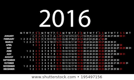 calendar for 2016 on black background. Vector EPS10. Stock photo © rommeo79