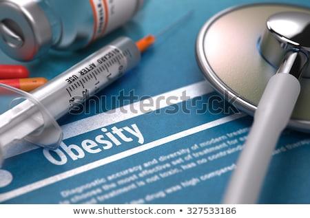 Diagnózis elhízottság orvosi elmosódott jelentés világoszöld Stock fotó © tashatuvango