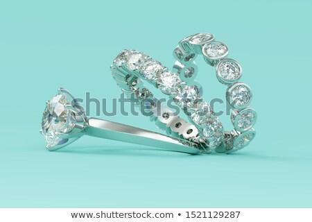platina · ezüst · gyűrűk · gyémánt · fehér · magas - stock fotó © fruitcocktail