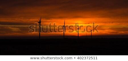 Bright Orange Sunrise Signal Peak Wind Turbines Washington Green Stock photo © cboswell