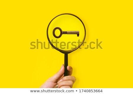 увеличительное стекло ключевые дверь ключом синий бизнеса Сток-фото © cosma