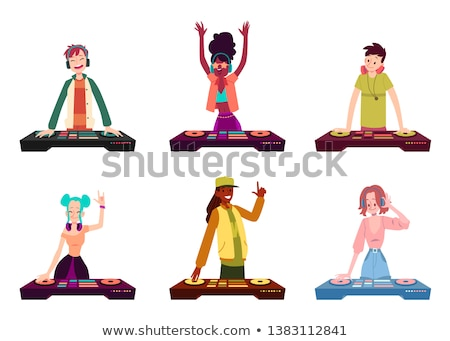 Male and female DJ and record decks Stock photo © elaine