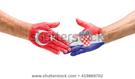 Football équipes handshake Turquie Croatie main Photo stock © Zerbor