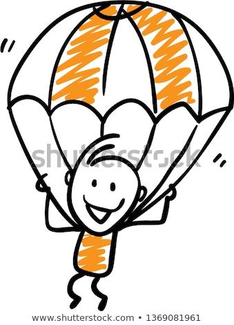 Rajz ejtőernyő fiú illusztráció fehér háttér Stock fotó © bluering
