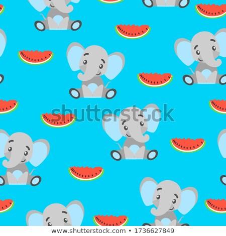 Funny watermelon on turquoise  background Stock photo © marimorena