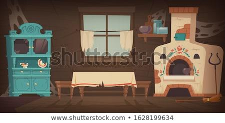 Arme huisvesting keuken huis houten Stockfoto © Klinker