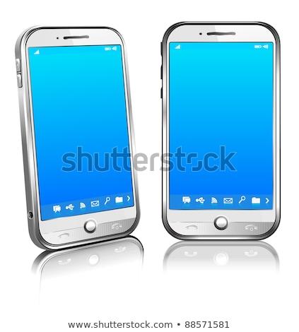 Stockfoto: Witte · telefoon · cel · smart · mobiele · 3D