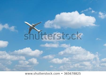 Avión cielo silueta avión brillante naranja Foto stock © Anna_Om