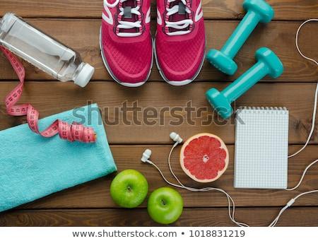 jegyzettömb · egészséges · életmód · fa · asztal · víz · étel · egészség - stock fotó © fuzzbones0