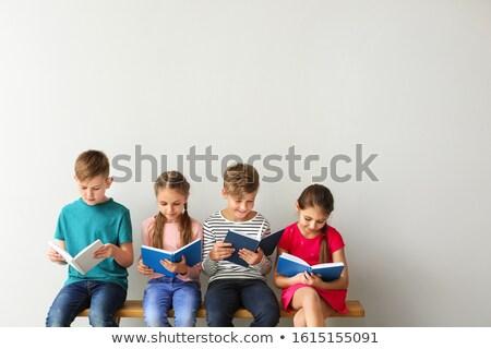Lány fiú olvas illusztráció fehér diák Stock fotó © bluering