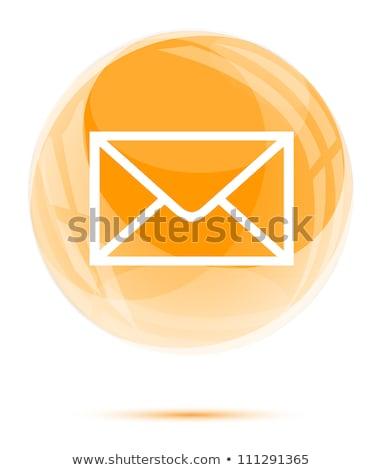 Courriel icône orange lettre communication enveloppe Photo stock © dzsolli