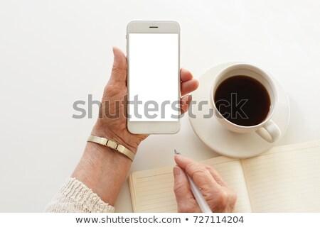 supérieurs · femme · smartphone · technologie - photo stock © dolgachov