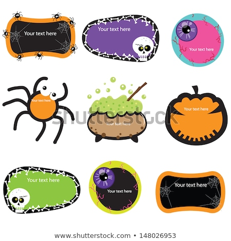 Stock photo: cartoon halloween set character with blank sign