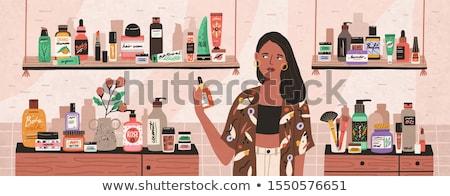 Foto stock: Menina · perfumaria · ilustração · negócio · mulher · água