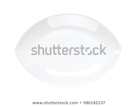 Foto stock: Oval · coupe · prato · branco · limpar · prato