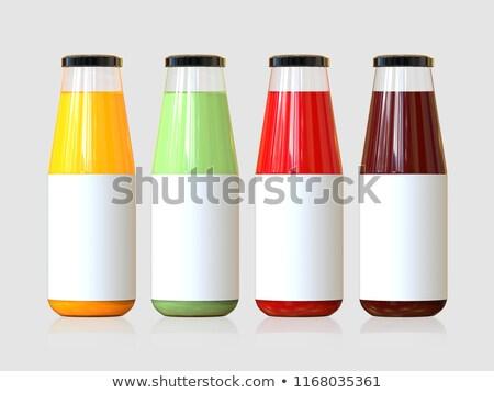Juice bottle with Strawberry, 3d Illustration, isolated on gray background Stock photo © tussik