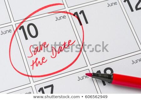 Foto stock: Guardar · fecha · escrito · calendario · 10 · fiesta
