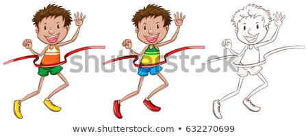 Man running through finished line in three sketches Stock photo © bluering