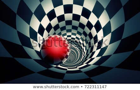 Red ball in a chess tunnel. Predetermination. The space and time Stock photo © grechka333