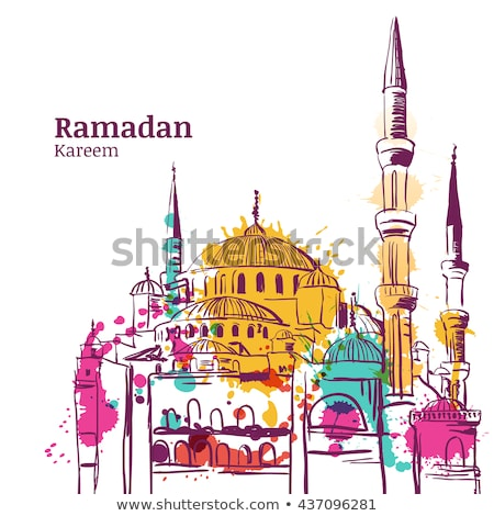 eid mubarak watercolor background with mosque silhouette stock photo © sarts
