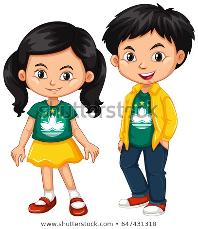 Happy boy and girl wearing shirt with flag of Macau Stock photo © bluering
