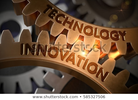technological innovation concept golden cog gears 3d illustration stock photo © tashatuvango
