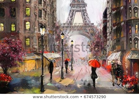 ходьбе · дождь · вид · сзади · пару · зонтик - Сток-фото © stevanovicigor