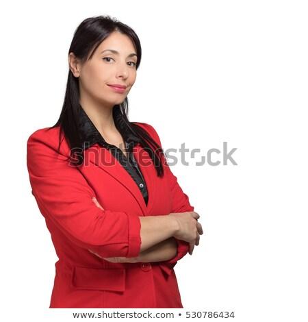 Portré gyönyörű boldog üzletasszony öltöny pózol Stock fotó © deandrobot