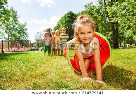 Gyerekek játszik sátor család lány gyermek Stock fotó © IS2