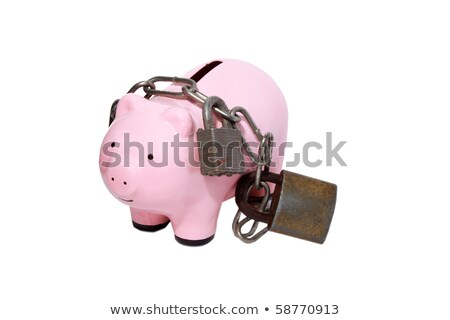 piggy banks surrounding piggy in chains stock photo © is2