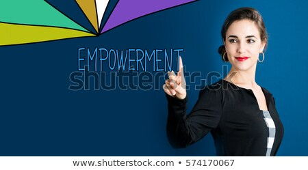 empowering business   cartoon blue text business concept stock photo © tashatuvango