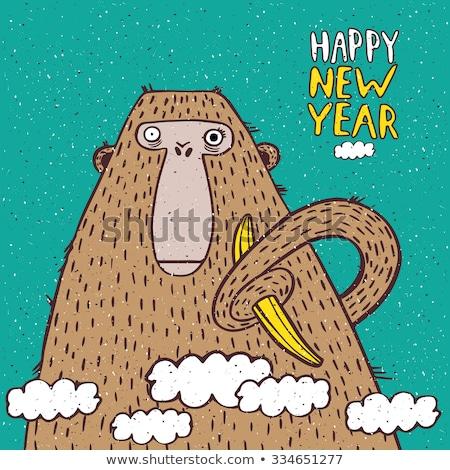 ストックフォト: 明けましておめでとうございます · 猿 · バナナ · 面白い · 実例
