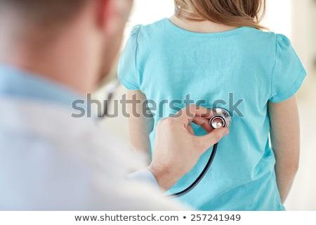 Dinleme geri hasta stetoskop dostça genç Stok fotoğraf © Jasminko