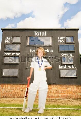 Jongen scorebord glimlachend winnaar medaille Stockfoto © IS2