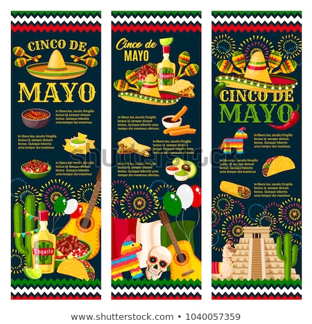 Cinco de mayo poster design with guitar and flags Stock photo © bluering