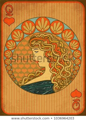 Queen poker hearts card in art nouveau style, vector illustration Stock photo © carodi