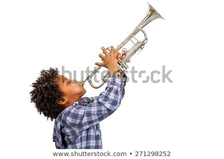 少年 · 演奏 · トランペット · 音楽 · 子 · 楽しい - ストックフォト © is2