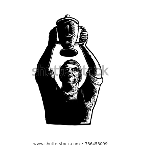 Worker Lifting Championship Cup Scratchboard  Stock photo © patrimonio