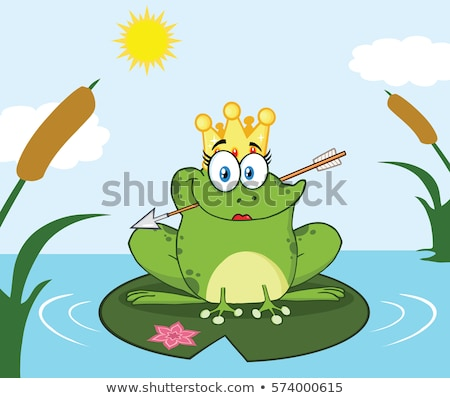 Princess Frog Cartoon Mascot Character With Crown And Arrow Perched On A Pond Lily Pad In Lake Stock photo © hittoon