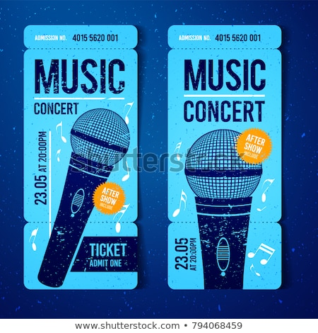 vector illustration music concert ticket design template with microphone and cool grunge effects in stock photo © zoa-arts