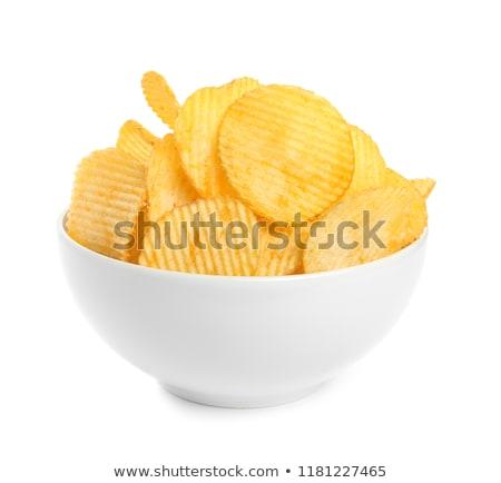 Dun chips twee witte chips witte achtergrond Stockfoto © Digifoodstock