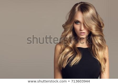 fille · visage · silhouette · belle · longtemps · blond - photo stock © essl