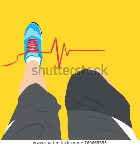 Vektor szívdobbanás elektrokardiogram fut nő férfi Stock fotó © freesoulproduction