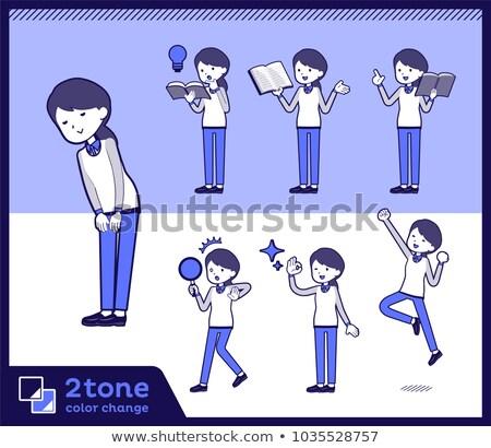 Type store personeel Blauw uniform boek Stockfoto © toyotoyo