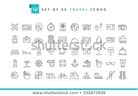 Stok fotoğraf: Beach Vacation - Set Of Line Design Style Icons