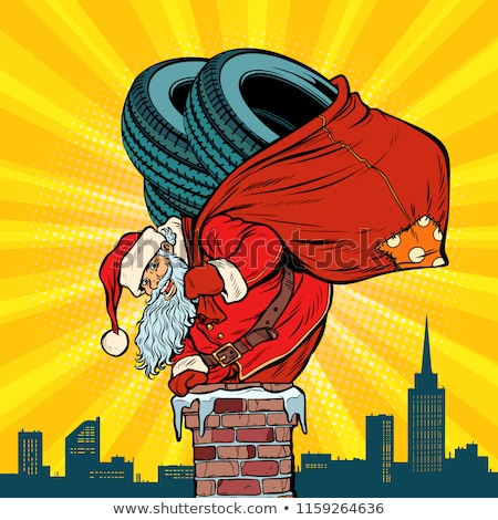 Auto winter banden kerstman geschenken schoorsteen Stockfoto © studiostoks
