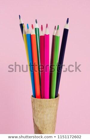 Ceruza zsírkréták waffle kúp közelkép különböző Stock fotó © nito
