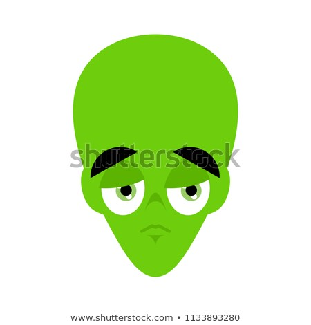 UFO sad Emoji. Green alien face sorrowful emotion. martian avata Stock photo © popaukropa