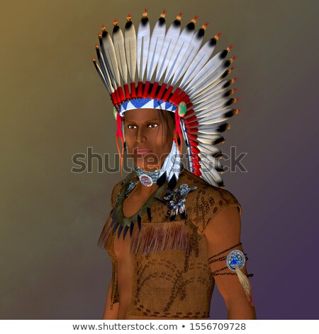 Man Native American Hunter Bear Illustration Stock photo © lenm